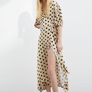 Zara Polka Dotted Maxi Wrap Dress